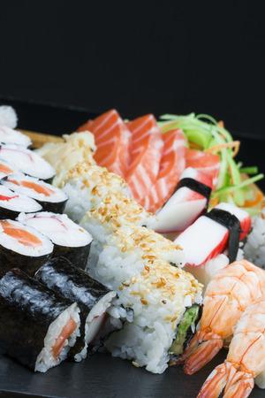 Shrimp and salmon variety sushi Stock Photo