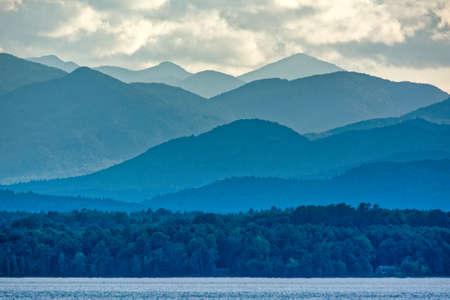 Adirondacks Mountains from Lake Champlain Stock Photo