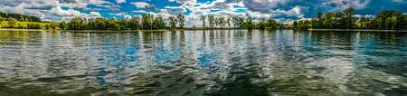 resplendence: Panoramic of trees and water at Lake Champlain