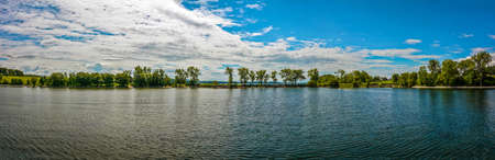 dreaminess: Panoramic of trees and water at Lake Champlain