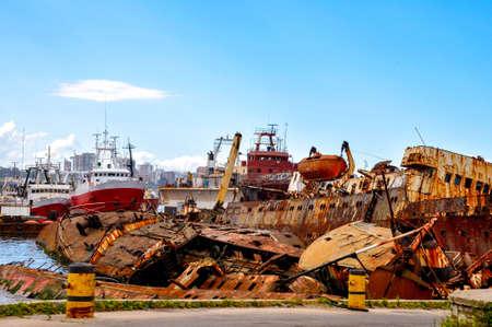 Shipwrecks in a harbor in Argentina