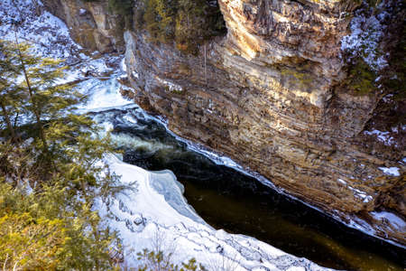 Ausable Chasm river in late winter Banco de Imagens
