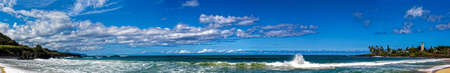 Panoramic view of Waimea Beach in Oahu Hawaii