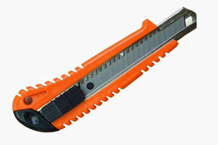 retractable: Orange utility Knife cutter Isolated on White Background.