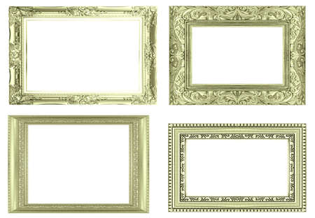 silver frame: collection silver frame isolated on white background. Stock Photo