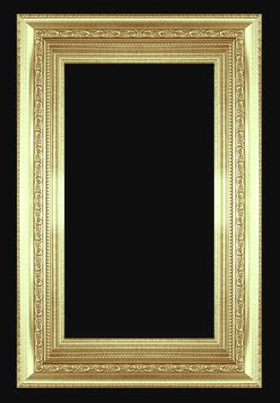 silver frame: silver picture frame isolated on black background. Stock Photo