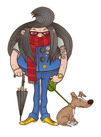 man long hair: A man with long hair walks her dog Illustration