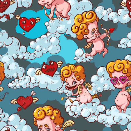 foolish: Background with cupids  and foolish hearts