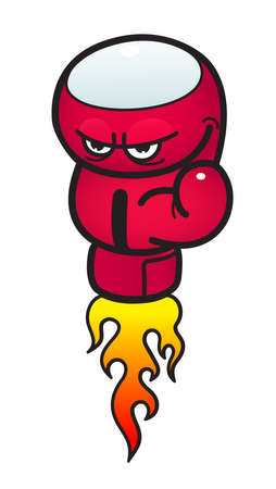 sullen: Red Angry boxing Glow with flame power Illustration