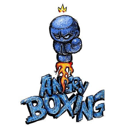 sullen: Angry Boxing glove drawing, cartoon hand-made style