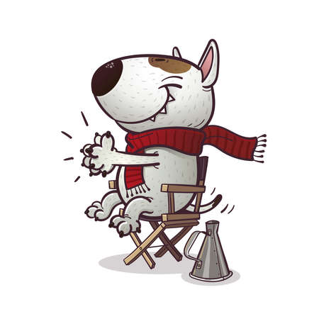 Cartoony bullterrier claps sitting on the chair