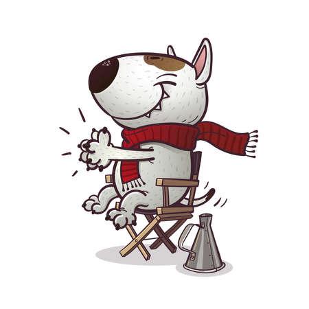 Cartoony bullterrier claps sitting on the chair