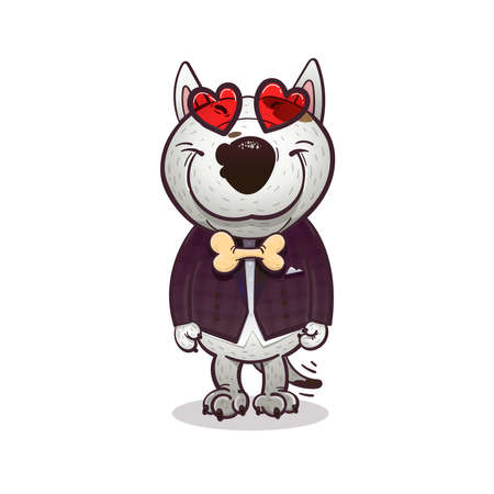 cartoony: Cartoony funny bullterrier fall in love and smile Illustration