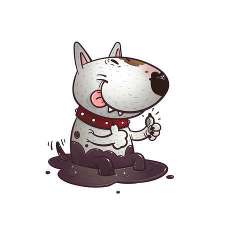 Alegre bullterrier historieta divertida que se sienta en un charco