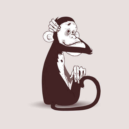 tail fin: Sitting monkey hugged his head with his right hand