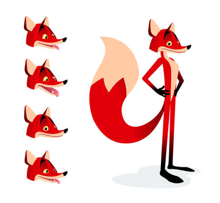 Cartoon red fox with little expressions set Illustration
