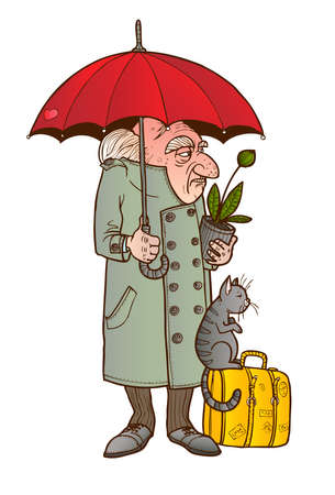 The old man with his cat and luggage stands under an umbrella