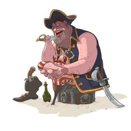 eats: Legged pirate on a desert island eats crabs