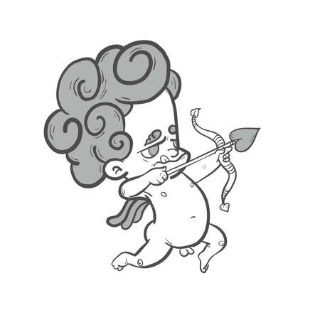 cartoony: Funny  aiming  little cartoony cupid with wings and bow