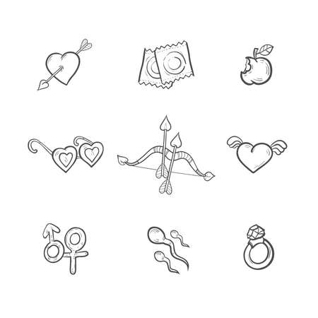 sexual activity: Valentines day icon set with main acessories