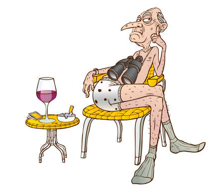 sits on a chair: An old man sits in a chair with binoculars