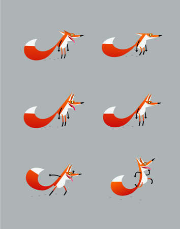 carnivores: Cartoony jolly fox jumping, looking forward, staing with open and closed jaws