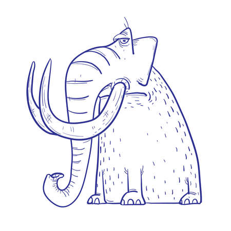 Funny Cartoon brown Mammoth with big tusks Illustration