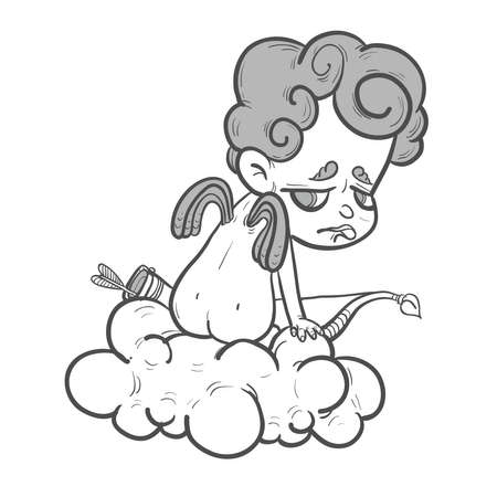 artificial wing: Funny little Cupid  with bow on the cloud missed Illustration
