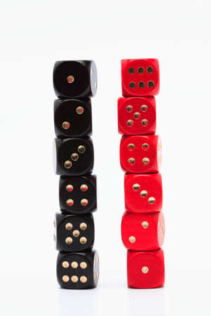 coincidence: Two piles of dices showing one to six Stock Photo