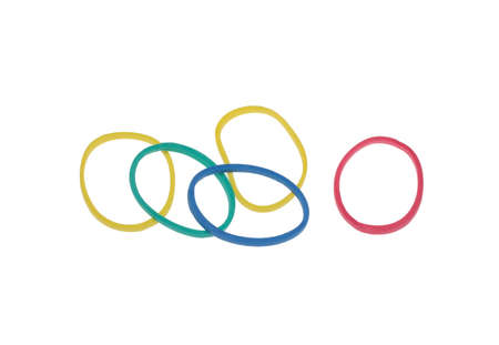 rubberband: a lot of colorful rubber bands over white Stock Photo