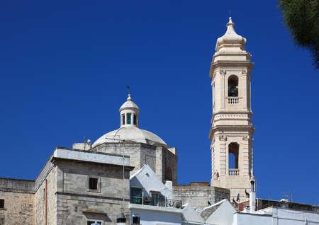 the campanile: Campanile of Chiesa madre di San Giorgio Martire, Locorotondo, , Apulia, Italy Stock Photo