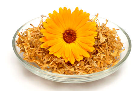 officinalis: Medicinal plant Calendula officinalis, blossom ond dried blossoms