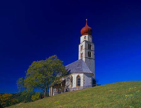 aerea: the church St. Valentin at the Schlern mountain aerea, Dolomites, South tyrol, Italy