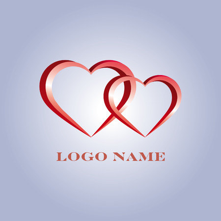 Logo with pair of red hearts stylized