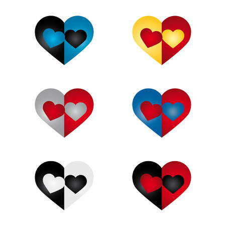 article icon: Set of hearts containing pairs of hearts in two colors