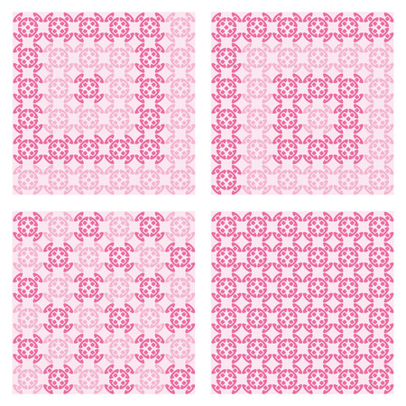 classics: Pattern in light and dark shades of pink with abstract decorations shaped candies Illustration