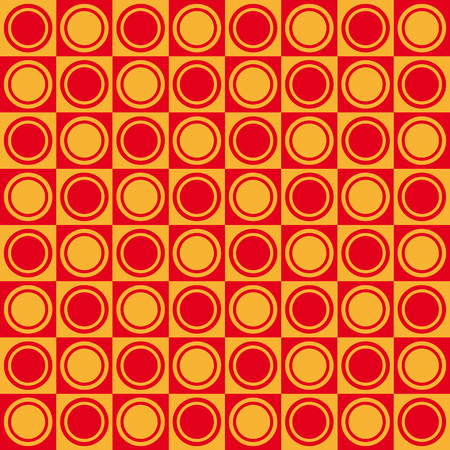 finesse: Geometric pattern with red and yellow squares and double circles