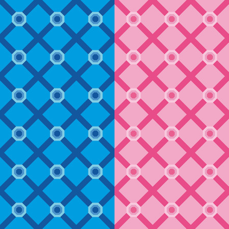 pink backgrounds: Set two geometric patterns with pink and blue hexagons and diamonds