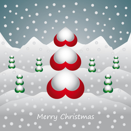 snow landscape: Christmas card with trees and snow landscape