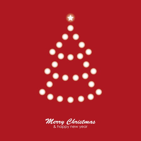 christmas concept: Christmas card with tree of lights on red background