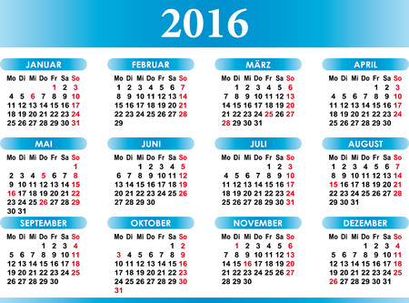 thursday: Deutsch Kalender 2016 German Calendar 2016