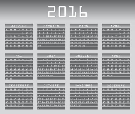 greyscale: French calendar 2016 greyscale