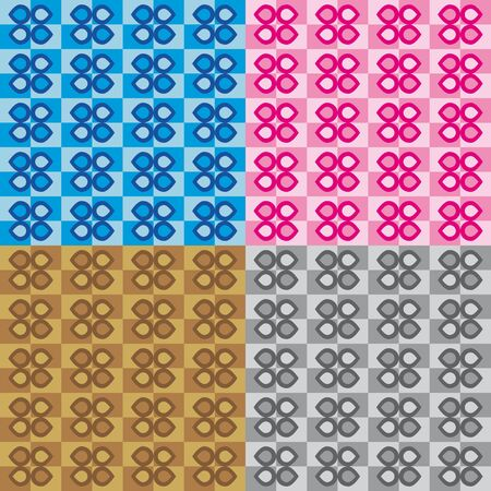 pink and brown: Set four patterns with blue pink brown and gray decorations Illustration