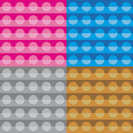 pink brown: Set four geometric patterns with blue pink brown and pearl gray circular shapes Illustration