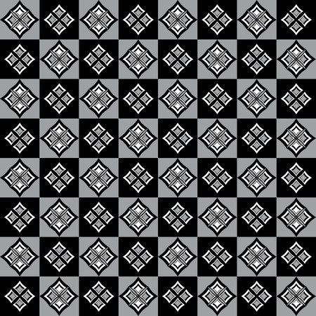alternating: Elegant pattern with rhomboid decorations on alternating gray and black squares