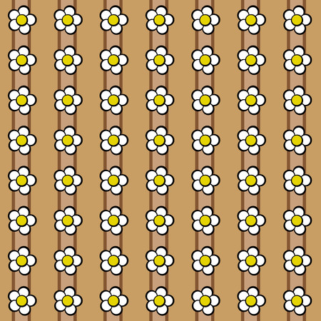 vernal: Floral pattern with daisies on dark and light brown background