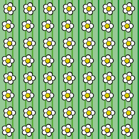 vernal: Floral pattern with daisies on dark and light green background Illustration