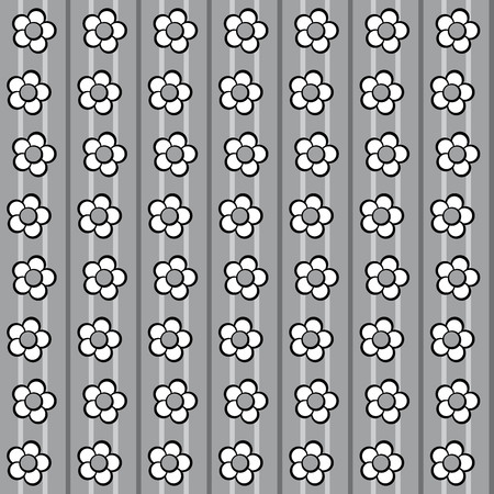 Floral pattern with daisies on dark and light gray background Illustration