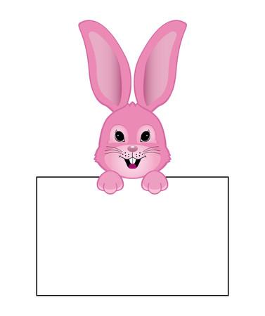 pink rabbit: Funny pink rabbit cartoon style with white cartel Illustration