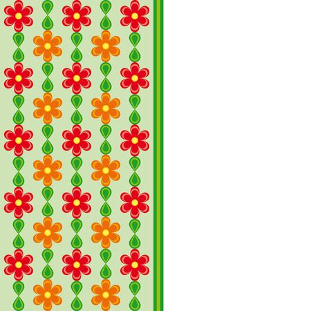 natures: Card with red and orange flowers and green leaves spring effect Illustration